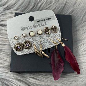 NWT World Market Multi Pack Boho Feather Earrings